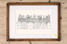 An art print designed and made by Kelly at Poppins & Co.  Features a line drawn illustration of the seafront, 100 yards from our lovely home in Hove, England.  Digitally printed onto high-quality beautifully textured card. Frame NOT included.   Purchase includes:  1 x A4 Art Print  Product Details:  Size: A4 (210mm x 297mm) Quantity: 1 Card: High Quality 290GSM ivory coloured lightly-textured matte finish   Shipping Details:  Packaging: Cello-wrapped, packaged in a hard-back envelope for…