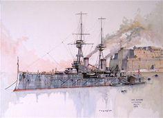 "HMS Superb in Grand Harbour, Malta. Watercolour 24"" X 18"""