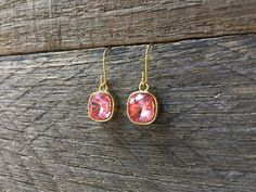 Cushion Pink Earrings Swarovski Crystal Square Shadow Dangle on Silver or Gold French Wire Hook by haileyallendesigns