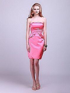 Strapless Satin Sheath Bridesmaid Dress 0114037 - USD $118.68