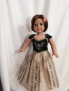 Coronation dress inspired by the Disney Movie by BamaYellowBelles American Girl Doll Costumes, Frozen Dolls, 18 Inch Doll, Disney Movies, Doll Clothes, Flower Girl Dresses, Inspired, Trending Outfits, Wedding Dresses