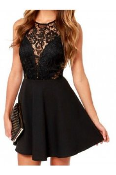 black sheer lace panel skater dress | USTrendy