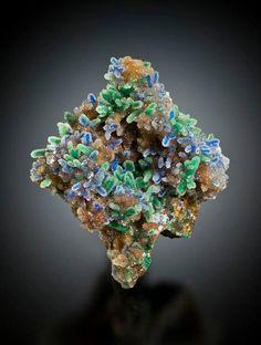 Quartz encrusted Malachite and Azurite from El Cobre, Zacatecas, Mexico.