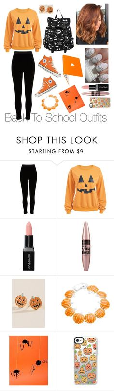 """Back To School Outfits #44: Halloween"" by gussied-up on Polyvore featuring River Island, Hot Topic, Converse, Smashbox, Maybelline, Francesca's, Meri Meri and Casetify"