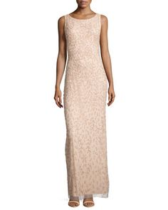 Sleeveless+Beaded+&+Sequined+Column+Gown+by+Aidan+Mattox+at+Neiman+Marcus.