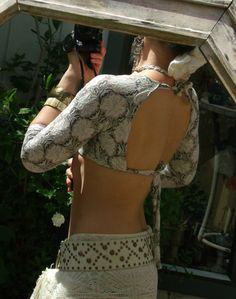 Cream Floral stretch lace Choli Belly Dance top by HacktBellydance