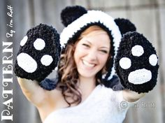Panda Bear Hood with Scarf PDF Crochet Pattern by IraRott Crochet Panda, Knit Crochet, Crochet Hats, Free Crochet, Crochet Shrugs, Blanket Crochet, Double Crochet, Single Crochet, Crochet Animal Hats