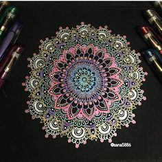 Mandala with metallic pens . . . . . ❤️#art#mandala#drawing#doodle#flowers#gellyrollpens#moon#light#shades#colours#henna#design#pens#sakura#instaart#instaartist#instadrawing#passion#love#instaflower#rose#glitter#london#flowers#like