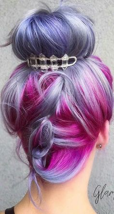 Purple fuchsia Pink dyed hair updo @pulpriothair                                                                                                                                                                                 More