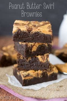 Peanut Butter Swirl Brownies | crazyforcrust.com #desserts #dessertrecipes #food #sweet #delicious #yummy