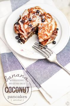 banana coconut pancakes with blueberries & cottage cheese