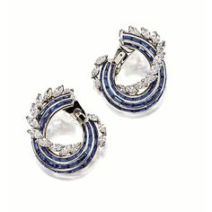 PAIR OF SAPPHIRE AND DIAMOND EAR CLIPS, Graff