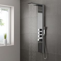 Milan Shower Tower Panel - Dark Chrome (Thermostatic) Large Image