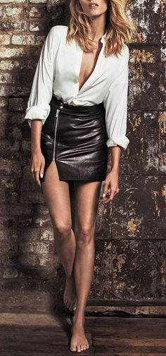 glossy #mini #leather skirt #white #blouse #outfit - https://www.luxury.guugles.com/glossy-mini-leather-skirt-white-blouse-outfit/