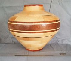 Wood Turned Segmented Native American Design Pot