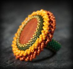 Large Sunflower Beaded Bezel Ring with Wood Cabochon