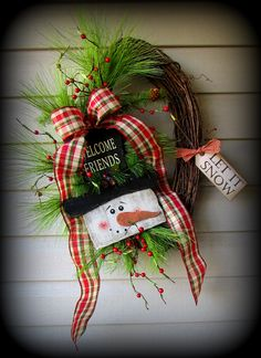 This sweet welcome friends snowman wreath is perfect for all Winter.....Prim and Pretty!
