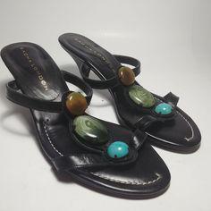 SACHA LONDON Size 8.5 US Women's Black Leather Slide Sandal Heel - Made in Spain #SACHALONDON #sandalheel Black Suede Pumps, Black Leather Heels, Suede Heels, Suede Leather, Slingback Pump, Sandal, Bow Heels, Womens High Heels, Pump Shoes