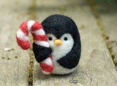 So Cute - Needle Felted Penguin Holding Candy Cane by scratchcraft on Etsy, $20.00