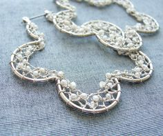 Winter White - Needle Lace Earrings with Tiny Sweet Water Pearls