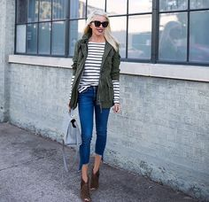 """I just love wearing stripes with a military jacket❤️ My jacket is 30% until tomorrow using code """"saletreat"""" deets👉🏻 liketk.it/2puk7"""