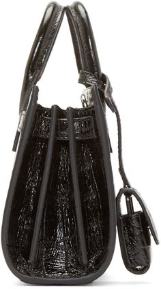Saint Laurent Black Croc-Embossed Toy Sac De Jour Bag