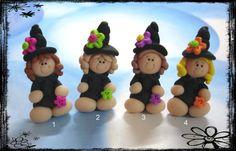 Halloween bruja niña polímero arcilla encanto por RainbowDayHappy