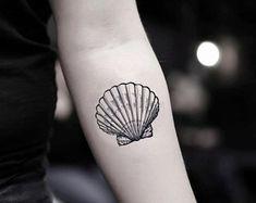Concha Seashell Temporary Tattoo Sticker (Set of Seashell Temporary Tattoo S. - Concha Seashell Temporary Tattoo Sticker (Set of Seashell Temporary Tattoo Sticker (Set of - Fake Tattoos, Pretty Tattoos, Temporary Tattoos, Small Tattoos, Tattoos For Guys, Gun Tattoos, White Tattoos, Arrow Tattoos, Word Tattoos