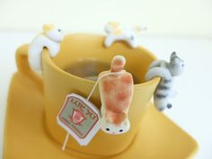 Cat Tea Bag Holder A Cute Cat Tea Pot Teabag by MiniHandsCrafts