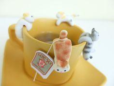 Chat sachet de thé porte A chat mignon Tea Pot par MiniHandsCrafts