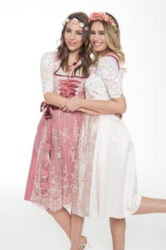 Seidendirndl in Pink von Alpenmädel. Zu mieten bei dresscoded.com #dresscoded