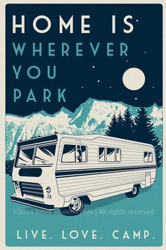 Vintage Retro camping Siebdruck print Poster von RetroScreenprints