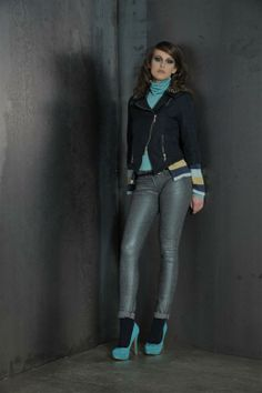 Jaquard jacket with lurex jeans