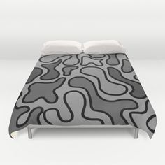 Gray Bed Cover - Duvet Cover Only -  Duvet Cover -  Bed  Spread - Squiggle Art…