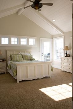 Love the Vaulted paneled ceiling & the window placement. So sick of having windows hidden by headboard!