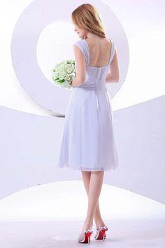 2013 Bridesmaid Dresses White Empire Waist Sweetheart Knee Length Chiffon