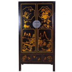 Armoire chinoise noire 100 ans - mobilierdasie.com