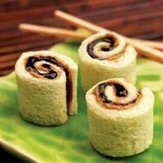 Peanut butter & jelly sushi you can also use nutela instead of jelly for an extra special treat :D