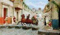 chariot in the roman street  Juego coqueta Pompeya por Ettore Forti