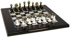 White & Black Wood/Metal Chess Set. Very cool Staunton metal/wood chess pieces with black & white lacquered wood chess board.