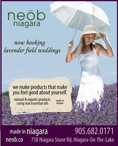 One of the most gorgeous places to get wedding photos... in a sea of lavender. neob in Niagara-on-the-Lake, is now booking sessions. Purple, white, and all the shades in-between; lavender signifies 25 years of unconditional love (plus your pictures would look magnificent).