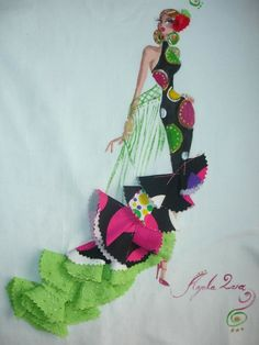 FLAMENCA Diy And Crafts, Arts And Crafts, Kids Around The World, Cute Quilts, Crochet Quilt, Fashion Figures, Pattern Drafting, Paint Party, Square Quilt