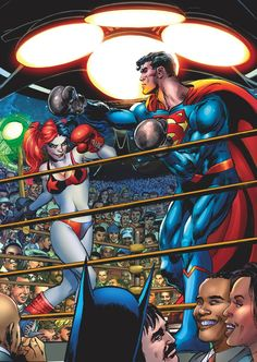 SUPERMAN vs HARLEY QUINN PRINT HAND SIGNED Neal Adams w COA Boxing