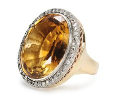 Grand Edwardian Citrine Diamond Ring ca 1920                                                           Share on email     Share on facebook     Shar...