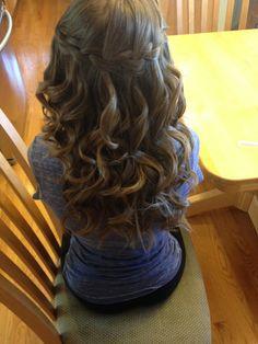 Waterfall braid with loose curls (: