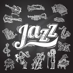 Jazz music decorative icons chalkboard set with instruments musicians..
