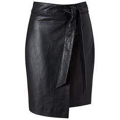 Buy Miss Selfridge Leather Knot Skirt, Black Online at johnlewis.com