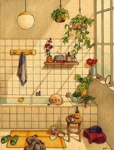 Bathroom Art Print by Felicia Chiao - X-Small Kunst Inspo, Art Inspo, Cartoon Kunst, Cartoon Art, Art And Illustration, Book Illustrations, Watercolor Illustration, Pretty Art, Cute Art