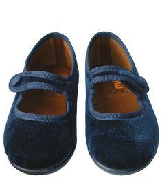Merceditas niña de terciopelo azul. www.donpisoton.com