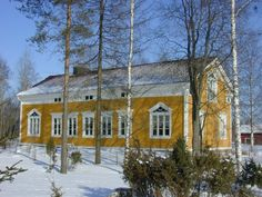 THIS color! In Kurikka, Finnish farmhouse built in Finland Nordic Classicism, Mansard Roof, Dream House Exterior, Classical Architecture, Wooden House, Scandinavian Interior, Log Homes, Building Materials, Old Houses
